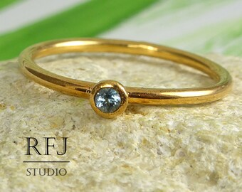 Rose Gold Plated Natural Swiss Topaz Ring, Stackable December Birthstone 14K Gold Plated Ring 2 mm Round Cut Swiss Blue Topaz Rose Gold Ring