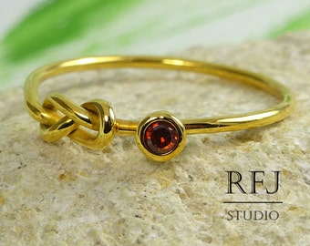 24K Gold Plated Lab Garnet  Infinity Knot Ring, January Birthsday Yellow Gold Ring, Dark Red 2 mm CZ Infinity Ring, Double Knot Gold Ring