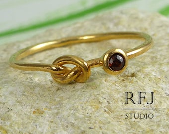 Natural Garnet Rose Gold Plated Knot Ring, January Birthstone 14K Gold  Knotted Ring 2mm Round Cut Red Garnet Love Rose Gold Stack Ring
