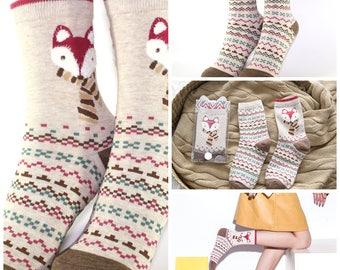 Cute Women's/Girl's Wild Fox Animal Pattern Cotton Socks 2 Pairs