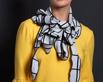 Margo - Off White and Black Grid Scarf, Unusual Scarf, Fabulous Gift, Rew Original