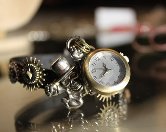 Ornament steampunk wrist watch and earrings gas mask