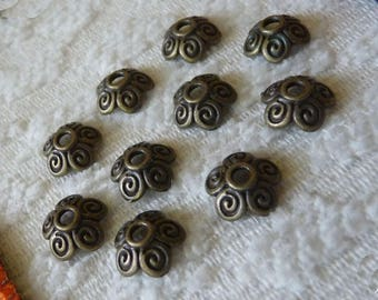 Bead Caps, 10mm Flower Bead Caps, Antiqued Bronze Flower End Spacer, Metal Bead Caps, Beading Supplies