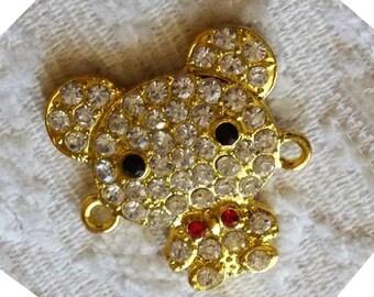 Bear Charm, Animal Charm, Rhinestone Pendant, Rhinestone Charm, Bracelet Connector, Fashion Jewelry Accessories, Rhinestone Bear Pendant