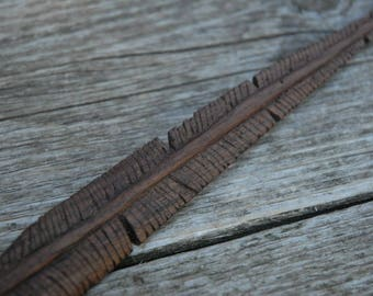 Hand Carved Walnut Wood Feather,  Handmade Wooden Feather, Indiana Walnut Wood, Tribal carved feather, wooden feather