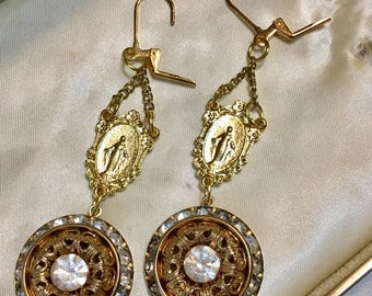 Golden Chandelier, vintage assemblage earrings, rhinestone, religious, gold tone