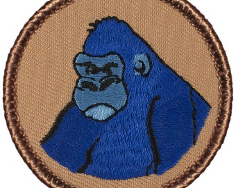 Blue Gorilla Patch (086) 2 Inch Diameter Embroidered Patch