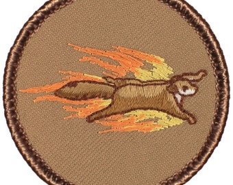 Flaming Flying Squirrel Patch (204) 2 Inch Diameter Embroidered Patch