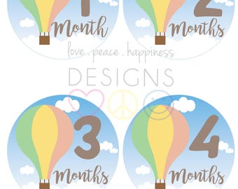 PRINTABLE Monthly Baby Stickers - Hot Air Balloons