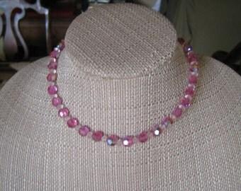 Vintage Pink & White Aurora Borealis Beaded Choker Necklace