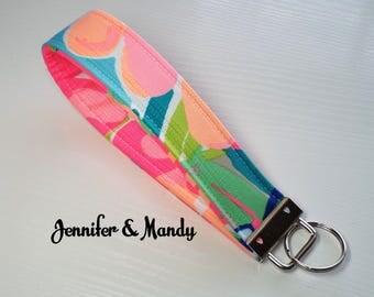 Lilly Pulitzer Fabric Key Fob - Keychain - Wristlet -  Teacher Gift - Sweet Sixteen - Graduation Gift - Bridesmaid Gift