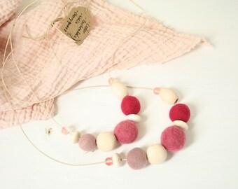 Wood bead ball necklace MAMA + MINI partnerlook 2 x pink
