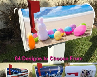 Easter Bunny on the Beach Magnetic Mailbox Cover