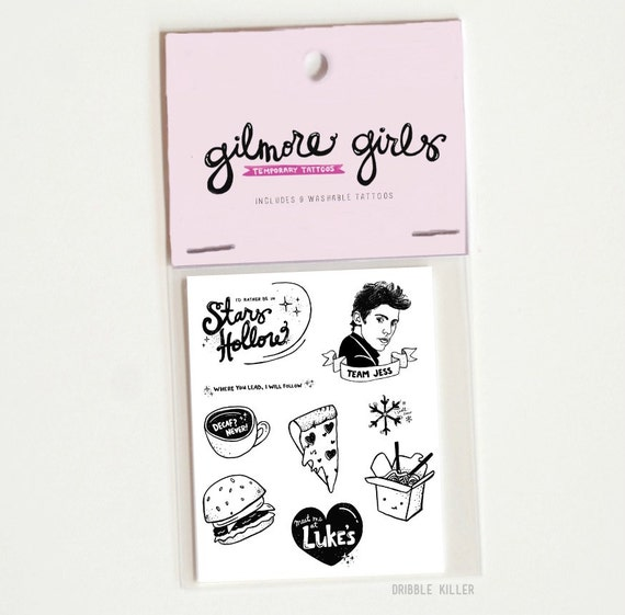 Gilmore girls temporary tattoos, party, team logan, team jess, where you lead I will follow, Stars Hollow, stocking stuffer