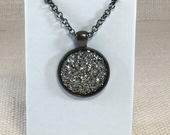 Gunmetal Druzy Necklace - Drusy Necklace - Gunmetal Jewelry - Statement Necklace - Bridesmaid Gift - Wedding Jewelry - Trend Jewelry
