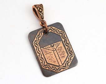 Copper book pendant, small flat rectangular bookplate jewelry, optional necklace, 25mm