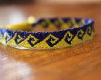 Yellow and navy blue Greek wave friendship bracelet