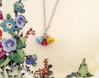Colourful summery czech glass flower pendant