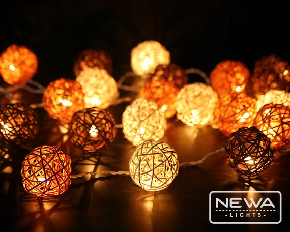 20 Brown White Mixing Rattan Ball String Lights By Newalights