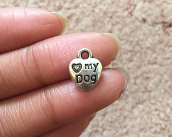 5 Love My Dog Charms Antique Silver Tone