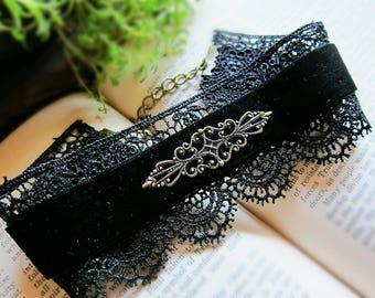 Eleonore, Black Lace Velvet Choker with Brass Filigree