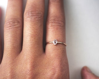 Herkimer Diamond Rose Gold Ring | Stacking Rings | Ring For Girlfriend | Delicate Rings | Rose Gold Rings | Rings With Stones | Rings
