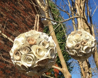 Paper Flower Kissing Ball, paper flower ornaments, paper pomander, kissing ball, Christmas ornament, fixer upper style, fixer upper decor