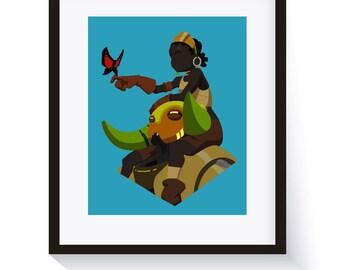 Overwatch Orisa and Efi Minimalist Spray Wall Art Print - Great Gift!