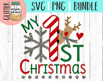 My 1st Christmas svg and png Files for Cutting Machines Cameo Cricut, Cute, Girl, Boy, Winter, Toddler, Baby, First Holiday, Reindeer