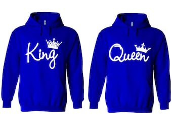 King Queen Write Couple Matching Premium 10 oz 80 cotton Royal Blue Hoodie - Price for 1 hoody-