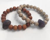 10 MM Sandalwood or Lotus Seed Bracelet Amethyst Nugget Band Against Cancer
