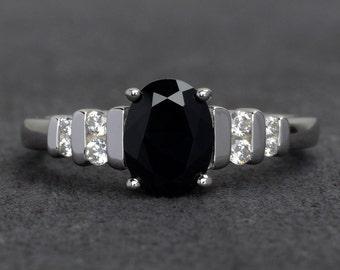 oval black spinel ring silver black rings engagement ring black gemstone rings