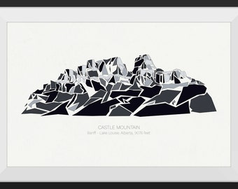 Castle Mountain - Banff - Lake Louise, Alberta, Canada - - Premium Mountain Print, Art Print, Wall Art, Mountains Canada