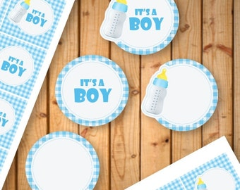 IT'S A BOY printable tags, cupcake toppers, gift tags