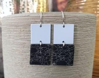 Light blue ans black marble square earrings