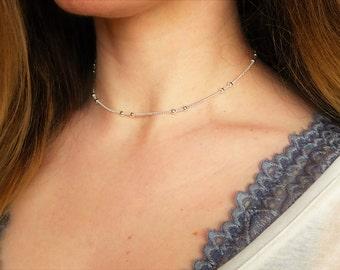 Silver satellite chain choker necklace- silver beaded choker, silver beaded chain choker necklace