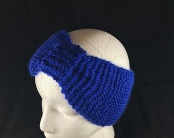 Knitted Blue Ear Warmer