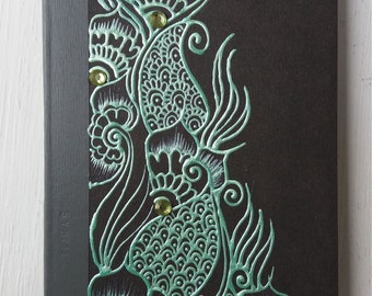 Sea green henna inspired A6 notepad.