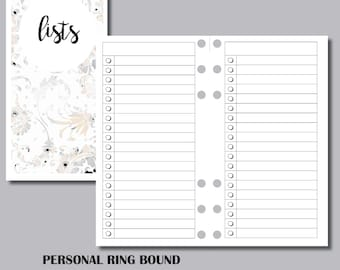 PERSONAL RINGS LISTS Printable Insert
