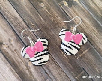 Minnie Mouse Zebra Print Earrings