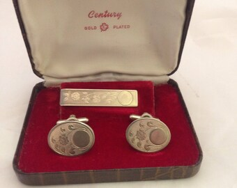Vintage Century Cufflinks and tie clip in box