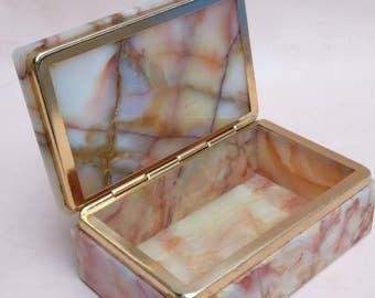 Vintage Marble box with metal trim