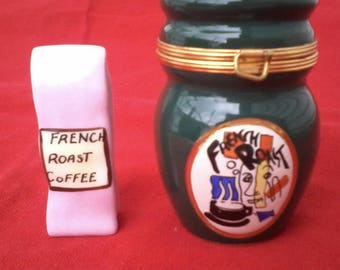 Vintage Limoges Petite Main Trinket Box French Roast Coffee Urn France G. R.