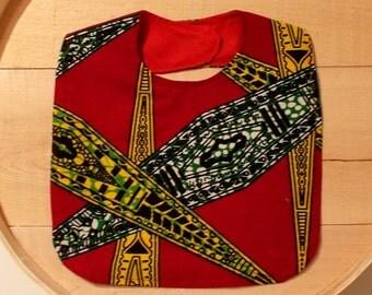 Red Yellow Green African Wax Print Baby Bib