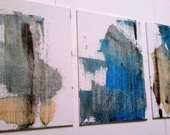 SALE Abstract Acrylic Painting /Set of Three Small Painting Wall Art / Original Paintings on Canvas 5 x 7 Blue Silver Gold Art Gift Set
