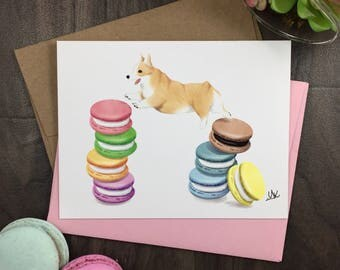 Welsh Corgi Greeting Card | Welsh Corgi Gift | Macaroon Card | Macaroon Gift | Corgi Birthday Card | Dog Birthday Card | Thank You Card