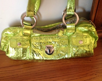 Metallic Green Leather Shoulder Handbag