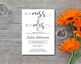 Bridal Shower Invitation, Shower Invite, Miss to Mrs, Rustic, White, Kraft Paper, Editable PDF, DIY, Printable, Instant Download E114A