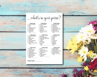 Bridal Shower Game, What's In Your Purse, Wedding Shower Game, Elegant And Fun Party Game, Printable PDF, Instant Download E133A