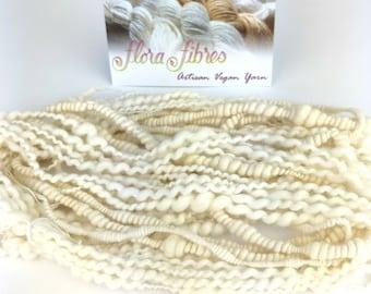 Hand spun undyed Egyptian cotton art yarn texture sampler, spiral plied and super coils, for knitting, crochet, weaving, crafts UK